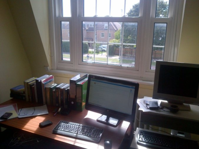 My desk in the NIAB archive room. Nice view, innit.
